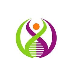 people DNA gen logo vector image