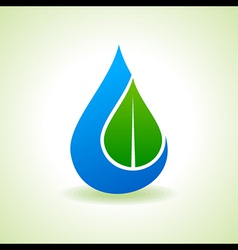 Save Nature Concept - Leaf inside the waterdrop vector image