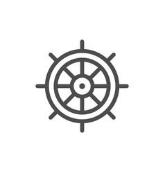 ship steering wheel line icon vector image