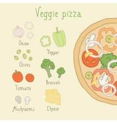 Veggie pizza ingredients vector image