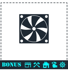 Computer cooling fan icon flat vector image