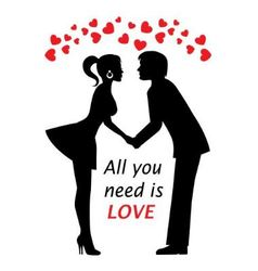 couple in love and hearts vector image