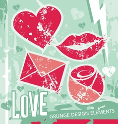 love - grungy design elements vector image vector image