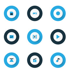 Music colorful icons set collection of chart vector