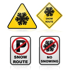 Snow route signs vector image vector image