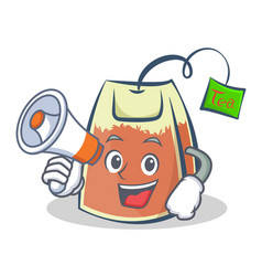 Tea bag character cartoon with megaphone vector