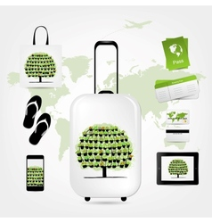 Travel suitcase with set of icons for your design vector image vector image