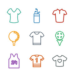 9 tee icons vector image