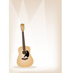 A Beautiful Guitar on Brown Stage Background vector