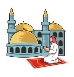 Arabic men praying in front of mosque vector