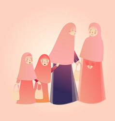 arabic woman carrying shopping bags with families vector image