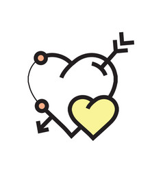 Arrow on heart icon yellow vector