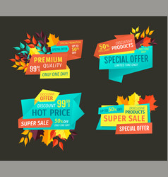 autumn season clearance sale banners with leaves vector image