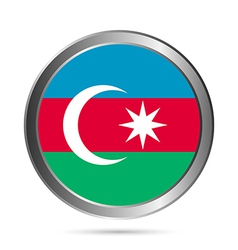 Azerbaijan flag button vector image