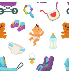 Baby newborn kid and pram perambulator seamless vector