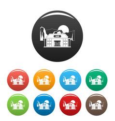 Bar saloon icons set color vector