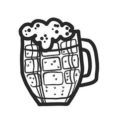 black beer mug icon hand drawn style vector image