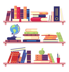 Book shelves with stack books and other objects vector