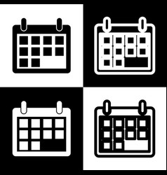 calendar sign black and vector image