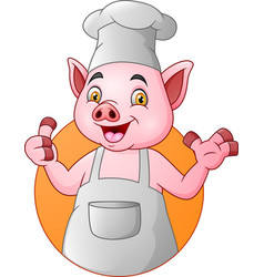 cartoon chef pig giving thumbs up vector image