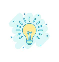 cartoon colored halogen lightbulb icon in comic vector image