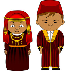 Cheerful african couple from tunisia vector