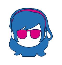 chibi anime girl face blue hair glasses vector image