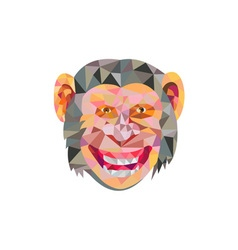 Chimpanzee Head Front Low Polygon vector image
