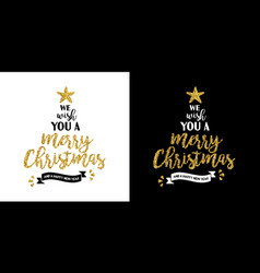 christmas gold glitter hand drawn holiday quote vector image
