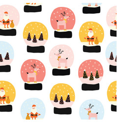 christmas snow globes seamless pattern vector image