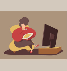 chubwoman eating in front tv vector image