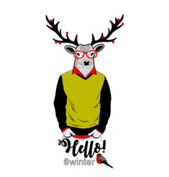 Colorful of deer in retro clothes and vector