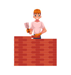 Construction worker builder in hardhat building vector