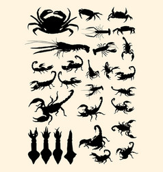 crabs lobster scorpion squid animal silhouette vector image