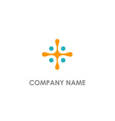 cross connection dot company logo vector image