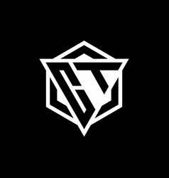 Ct logo monogram with triangle and hexagon shape vector