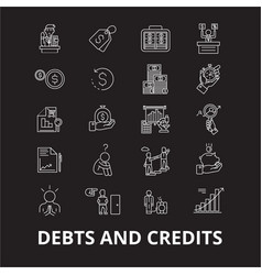 debts and credits editable line icons set vector image