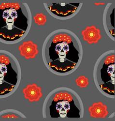 Dia de los muertos calavera katrina seamless vector