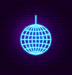 Disco ball neon sign vector