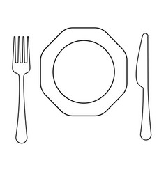 drawing of thin line fork octagonal plate vector image