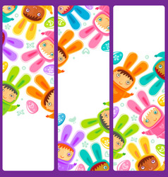 Easter banner with egg hunting rabbit children vector