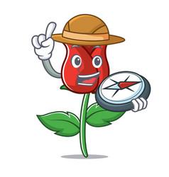 Explorer red rose mascot cartoon vector