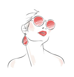 Expressive woman portrait with sunglasses vector image
