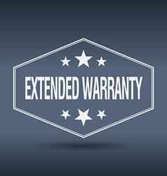 Extended warranty hexagonal white vintage retro vector