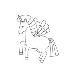 fairytale pegasus cute unicorn vector image
