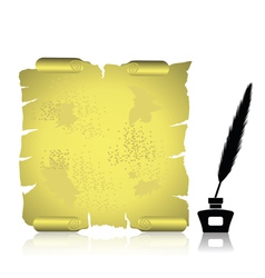 feather and scroll vector image