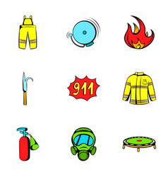 firecloth icons set cartoon style vector image