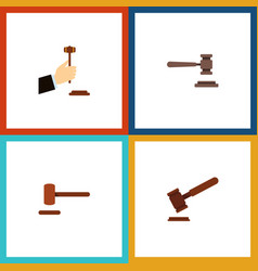 flat icon lawyer set of defense justice legal vector image
