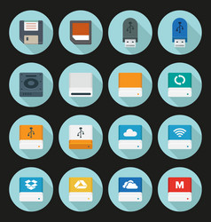 Flat storage icons vector