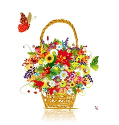 Four seasons Basket with leaf and flowers for your vector image